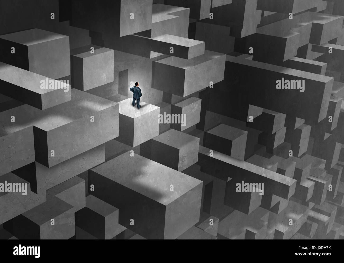 Défi de l'entreprise concept comme un homme en détresse et perdu dans un labyrinthe compliqué Photo Stock