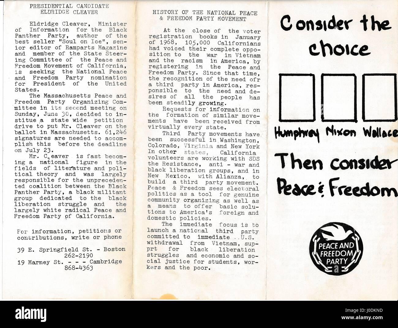 Ère de la guerre du Vietnam brochure du parti prônant la paix et la liberté que les citoyens inscrivez Photo Stock