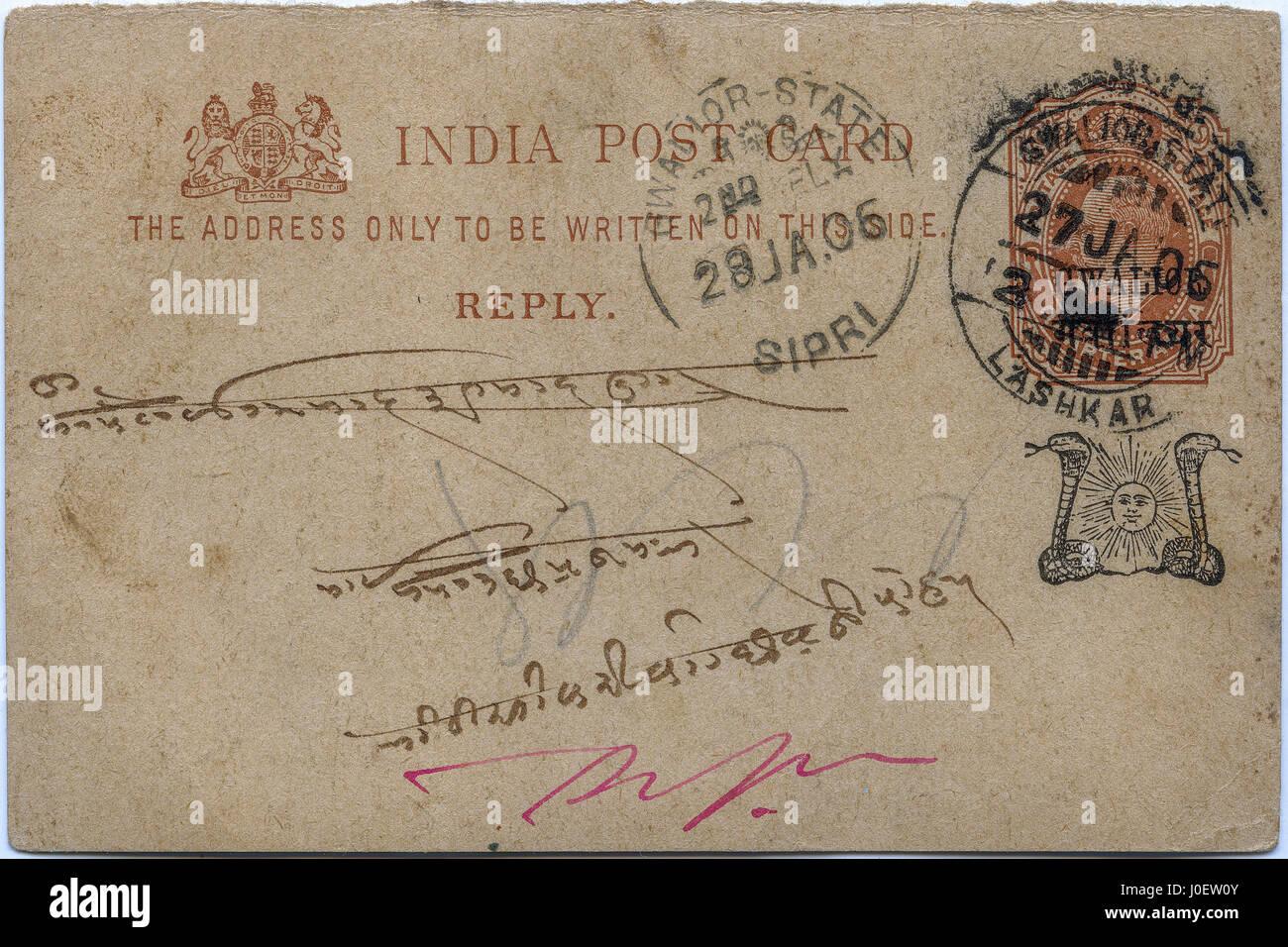 Vieux millésime 1906 carte postale, l'Inde, l'Asie Photo Stock