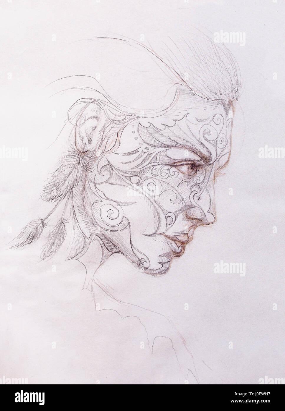 Mystic Femme Avec Ornement Sur Visage Dessin Au Crayon Sur Papier