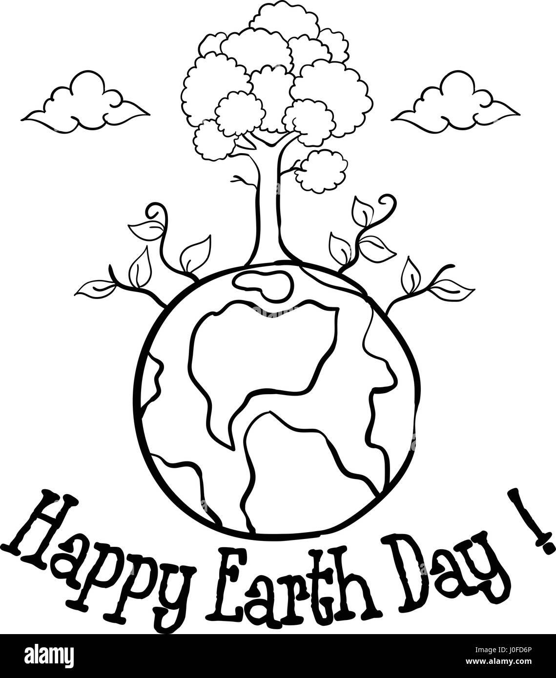 Heureux le jour de la Terre avec la main de l'arbre dessiner Photo Stock