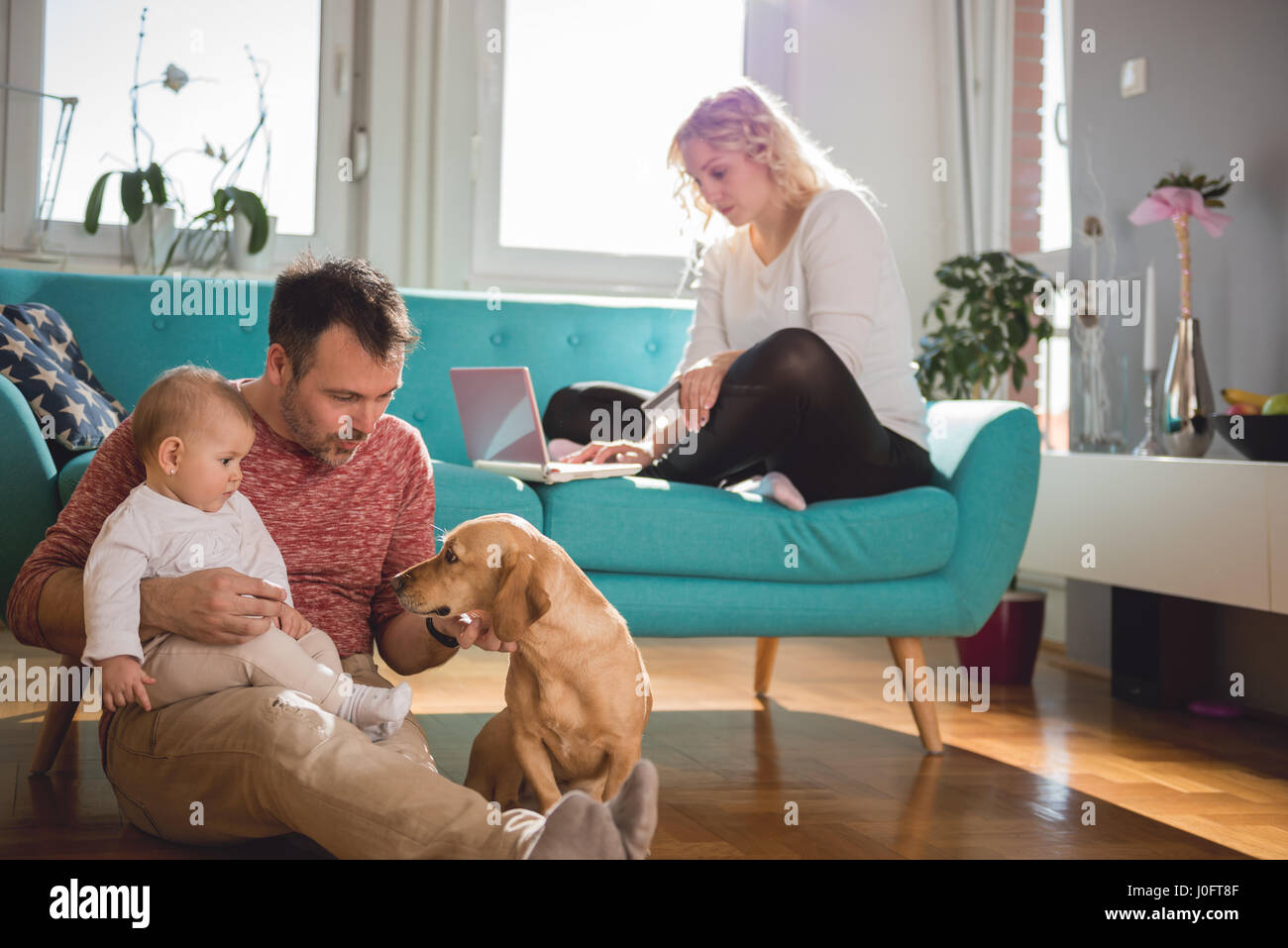 Père assis sur le plancher et avec bébé dans ses bras jouer avec chien femme assis sur le canapé Photo Stock