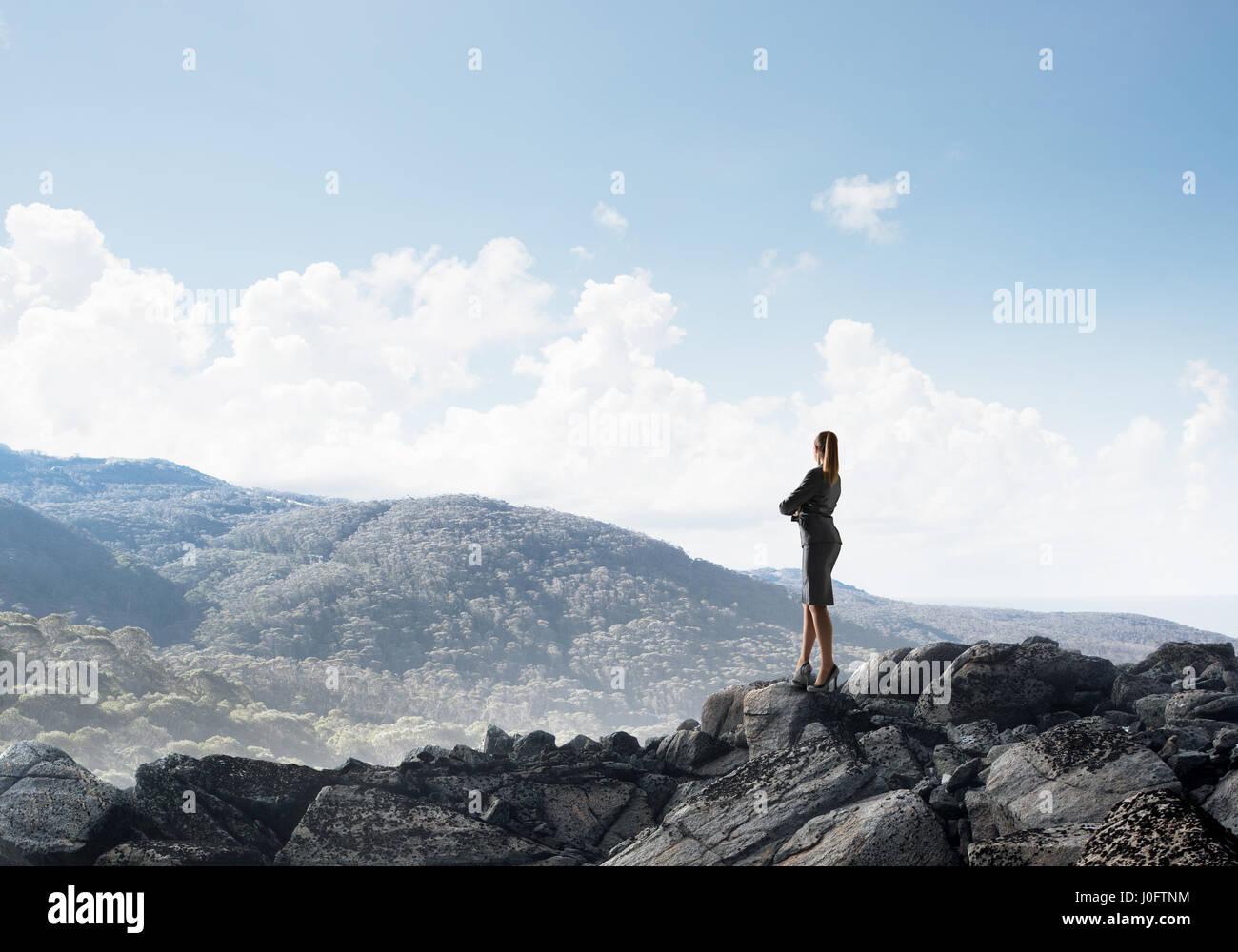 La réalisation haut de succès Photo Stock