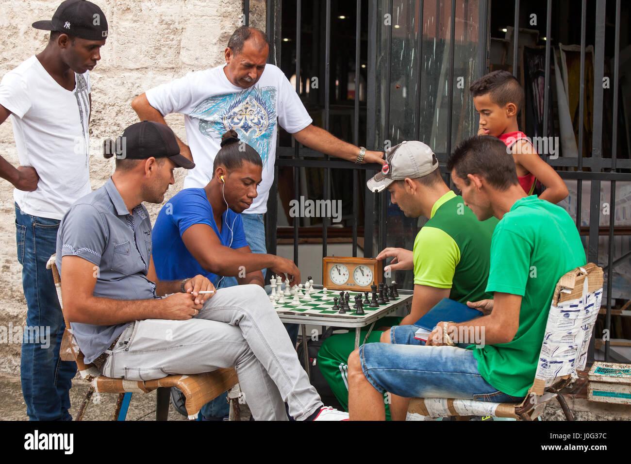 Jeu d'échecs, La Havane, Cuba Banque D'Images