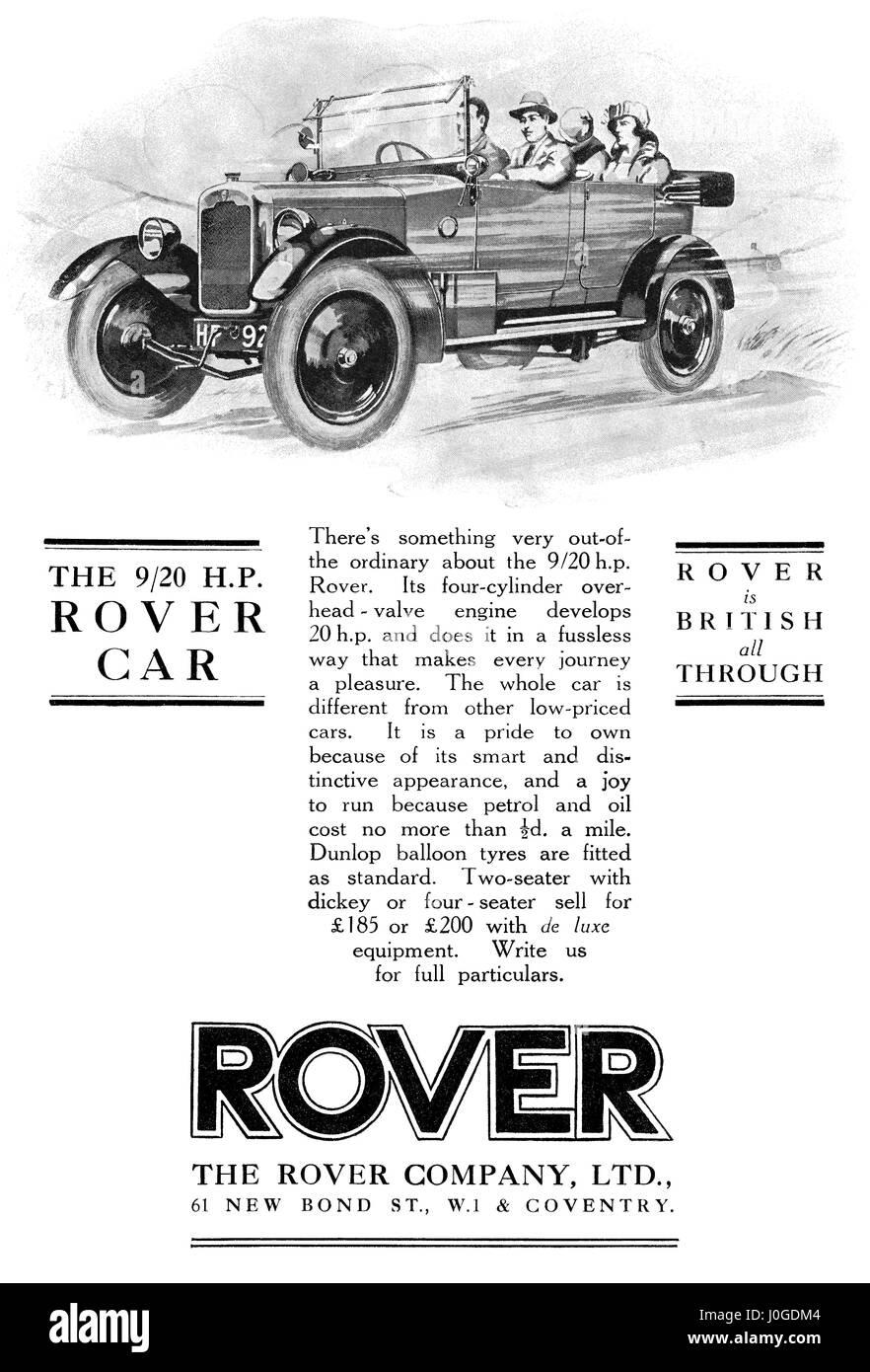 1925 La publicité pour 9/20 H.P. Voiture Rover. Photo Stock