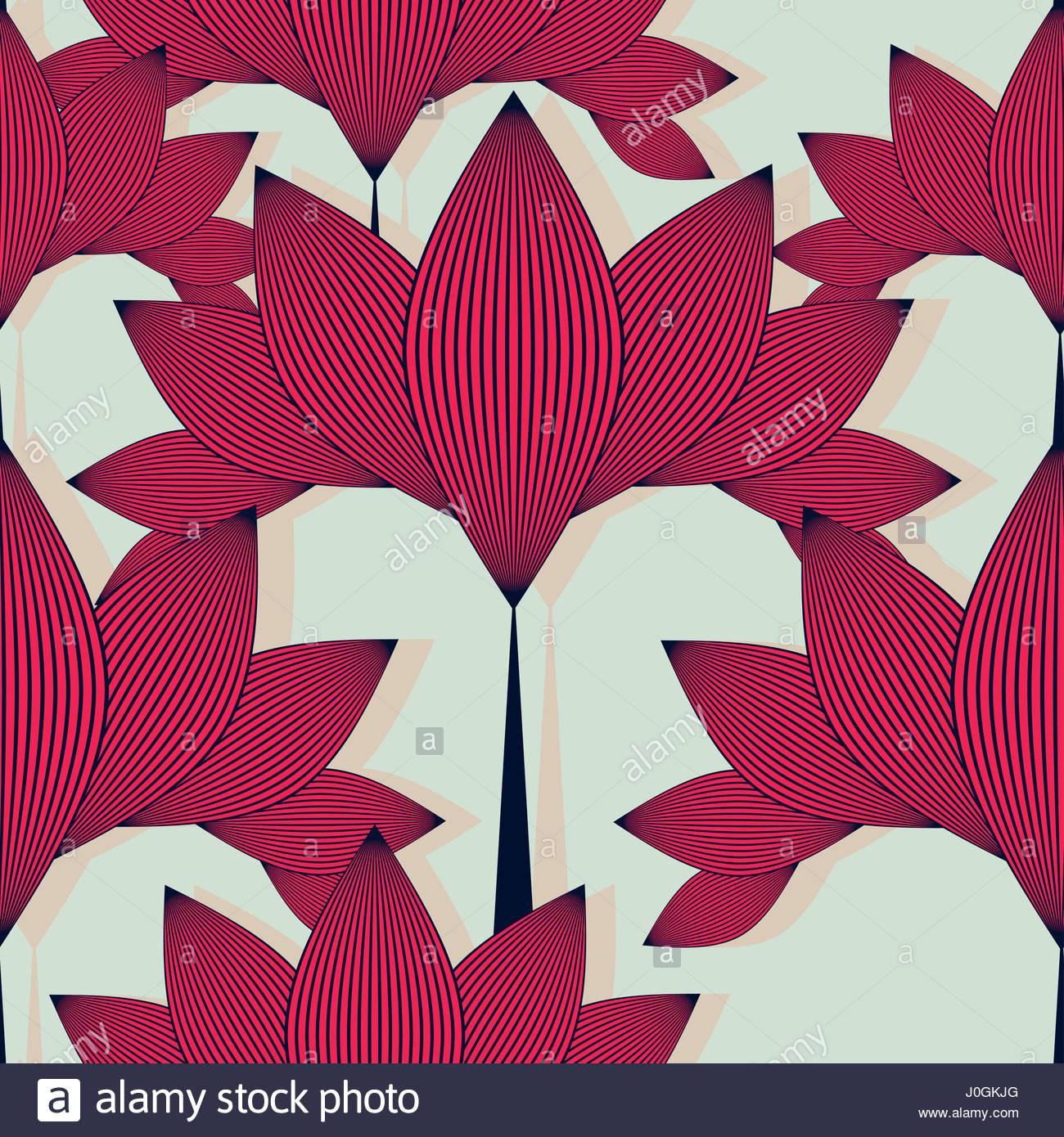 Papier Peint A Fleurs De Style Asiatique Avec Motif Carreaux Lotus