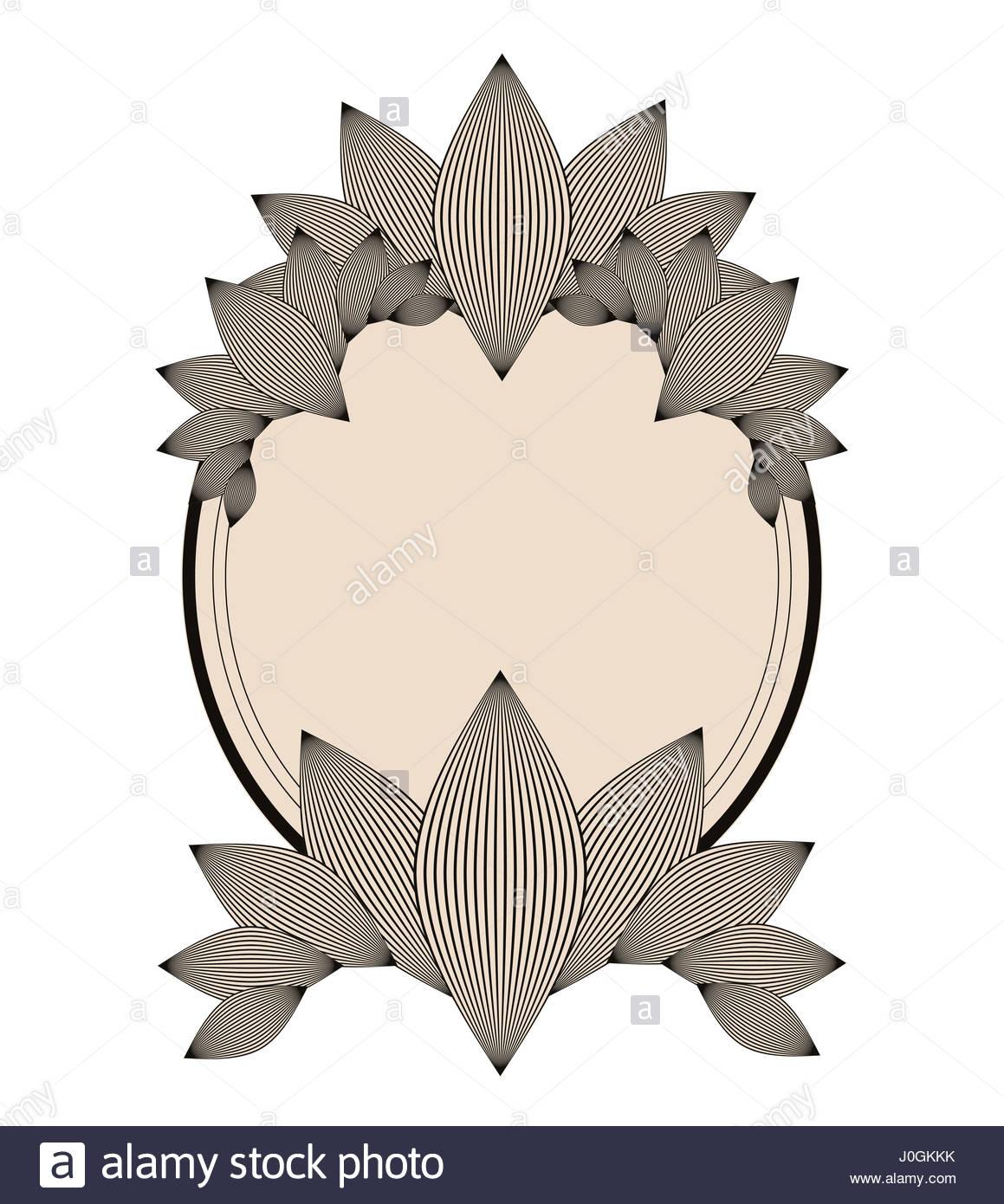 Ellipse style vintage frame avec motif feuillage de l'ivoire et noir Photo Stock