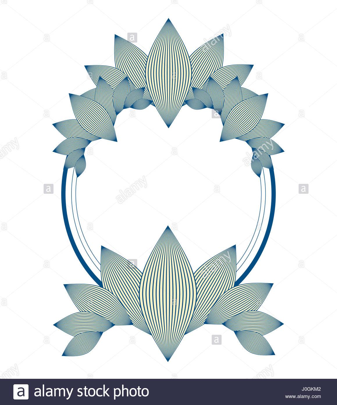Ellipse style vintage frame avec motif feuillage de l'ivoire et bleu Photo Stock