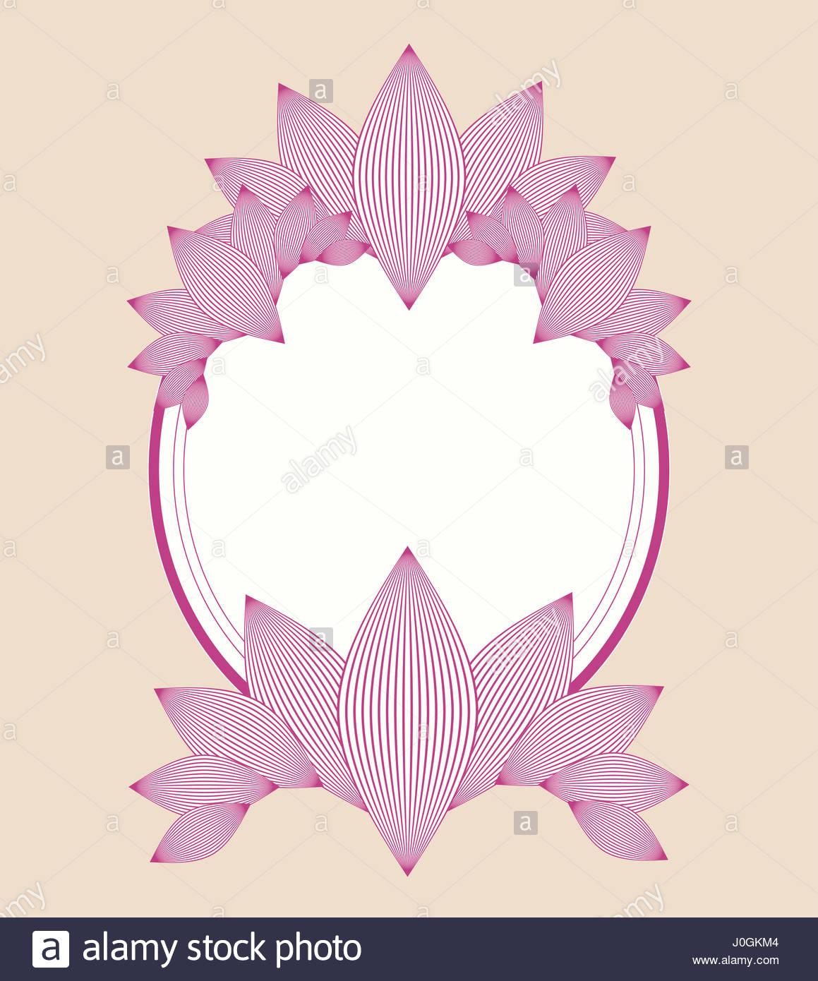 Ellipse style vintage motif fleurs lily avec châssis de l'ivoire et rose Photo Stock