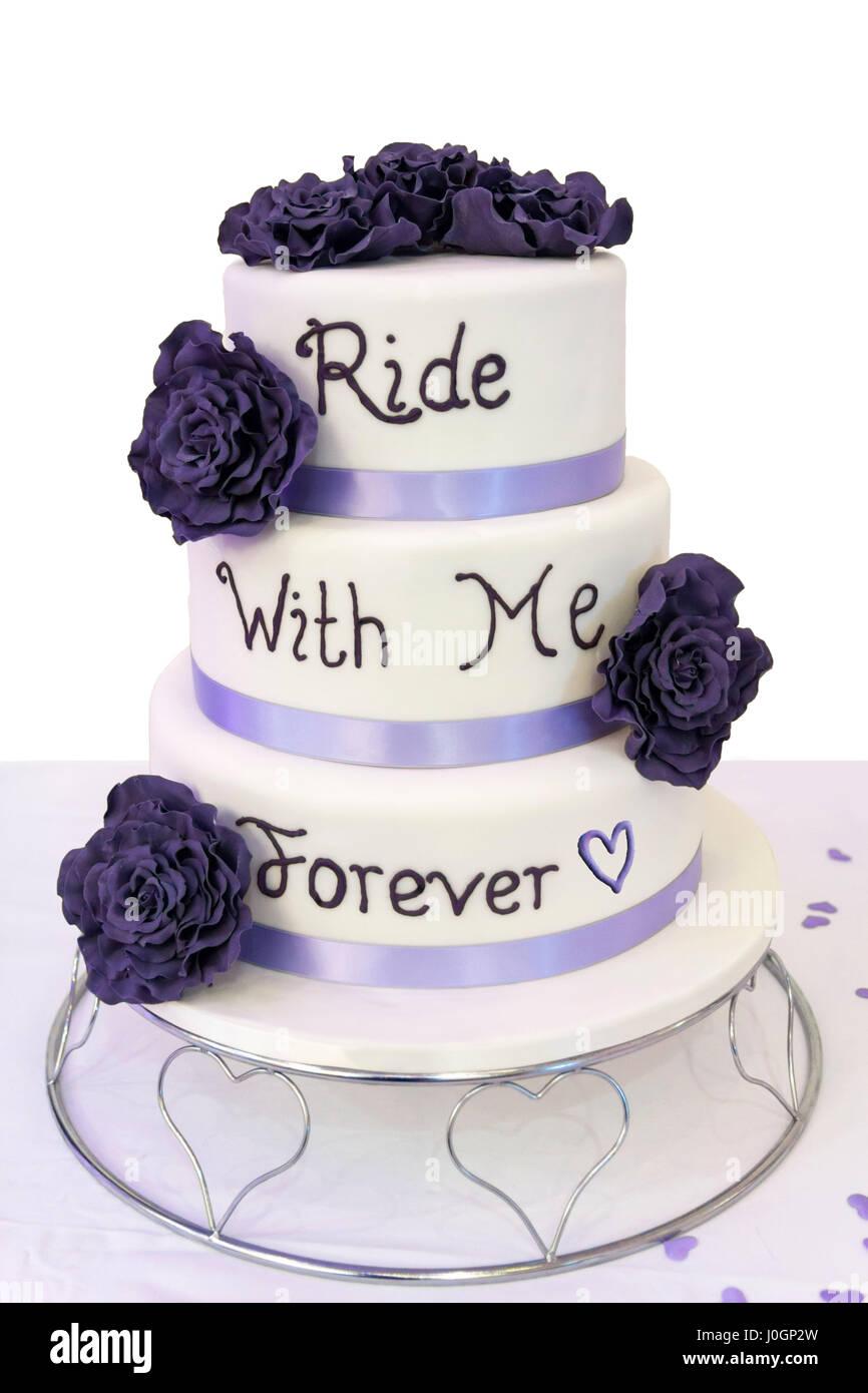 Gâteau De Mariage Pour Les Motards En Trois Niveaux Glaçage