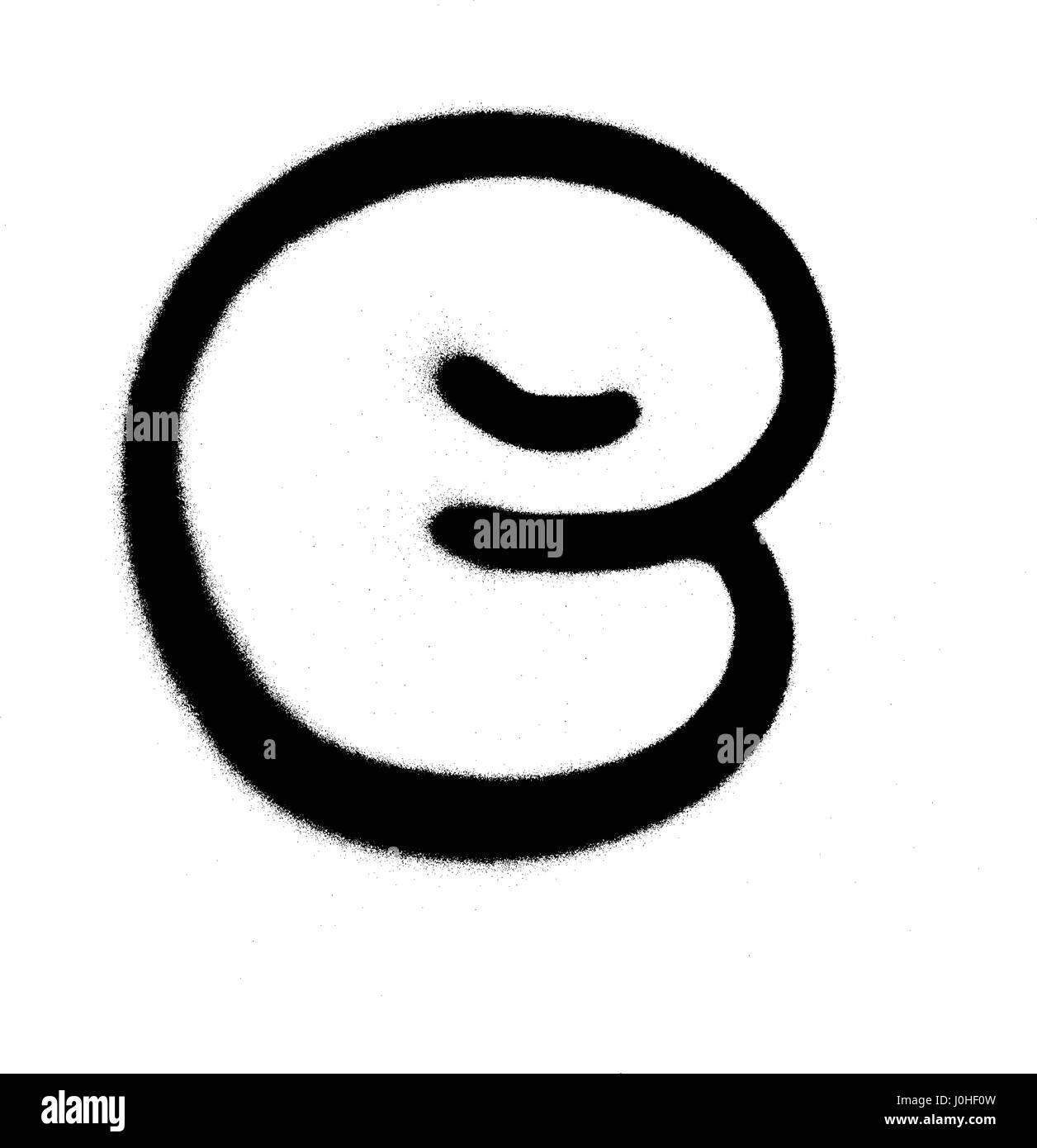 Bulle graffiti Font E en noir sur blanc Vecteurs Et