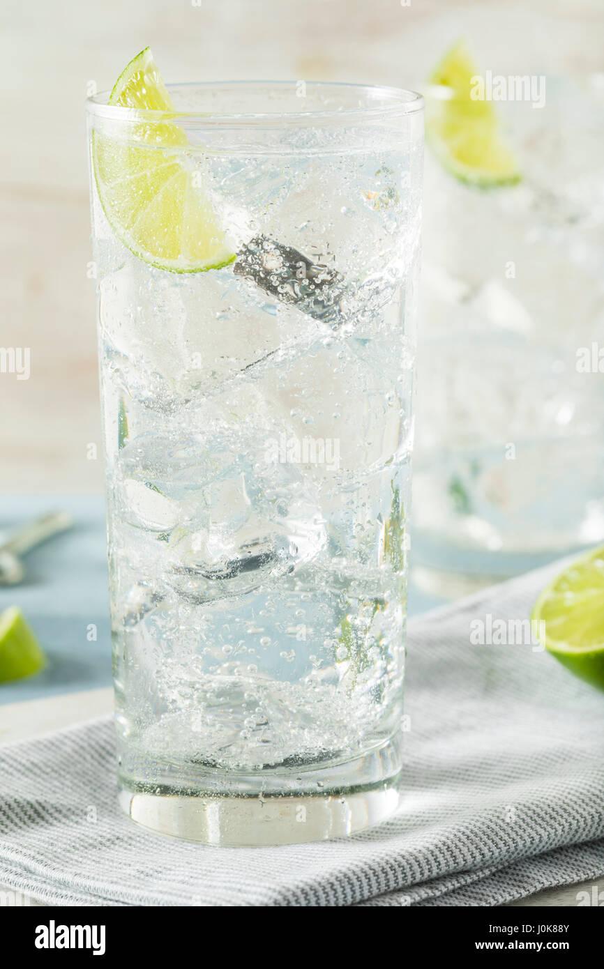Disque rafraîchissant de l'eau pétillante avec une garniture de chaux Photo Stock