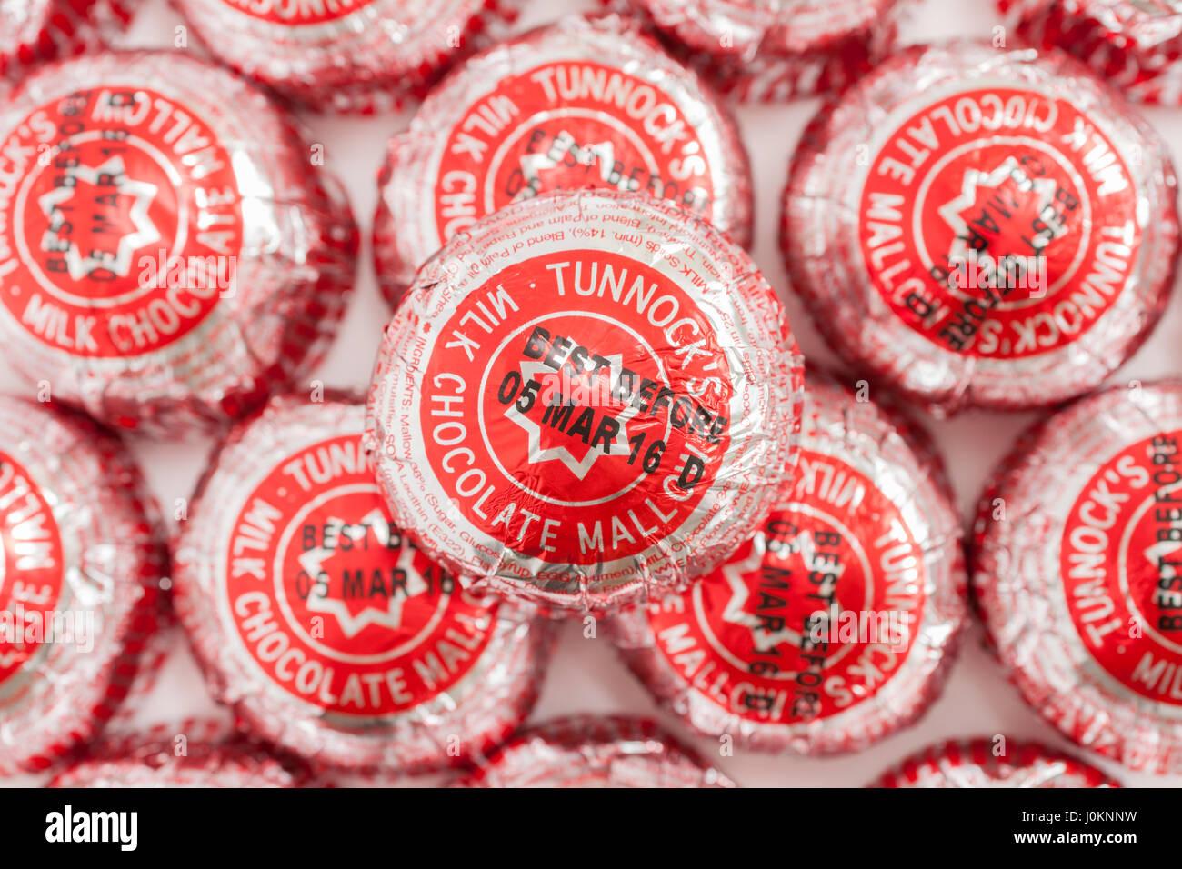 Un Teacakes Tunnocks guimauve chocolat biscuit produit par une famille baker basé à Uddingston Banque D'Images