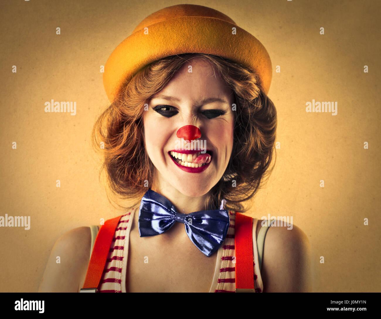 Portrait de femme Clown Photo Stock
