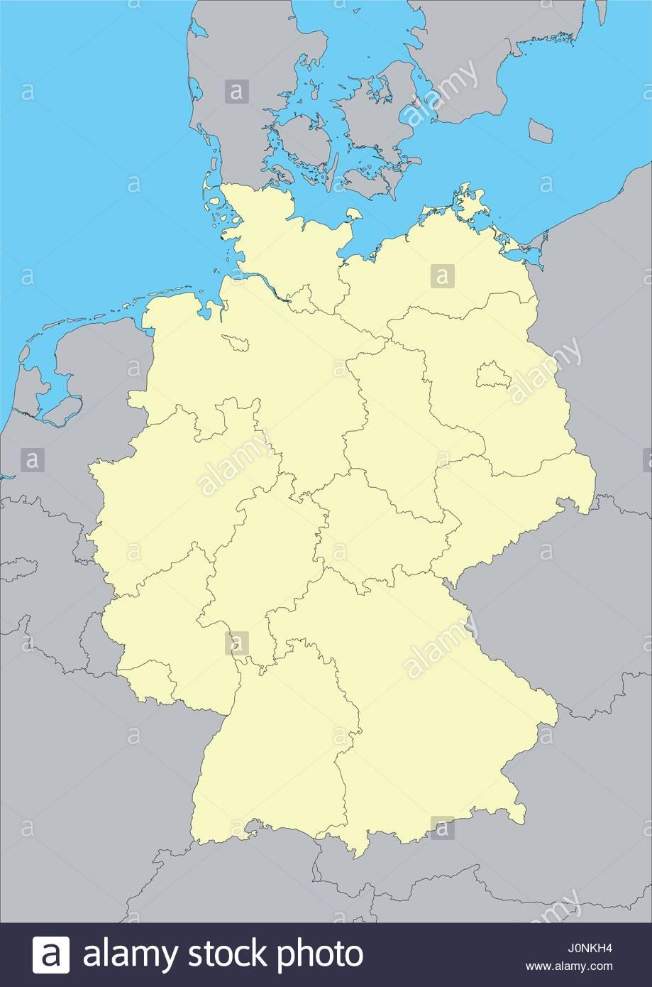 Carte Allemagne Facile.Carte Vectorielle De L Allemagne Et De Leurs Regions Facile
