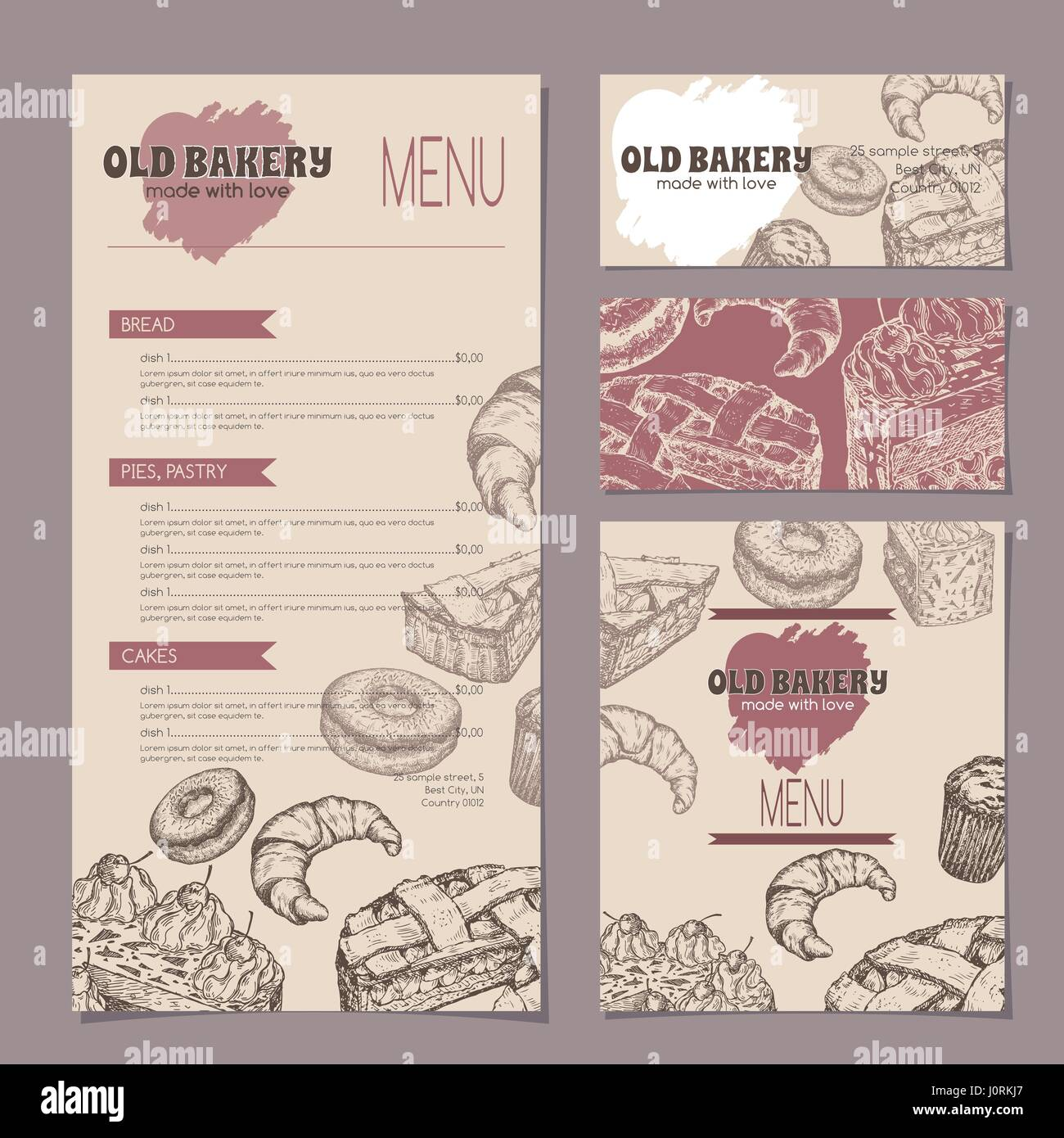Ensemble Dune Boulangerie Avec Des Modeles De Cartes Visite Menu Et Carte Reserves