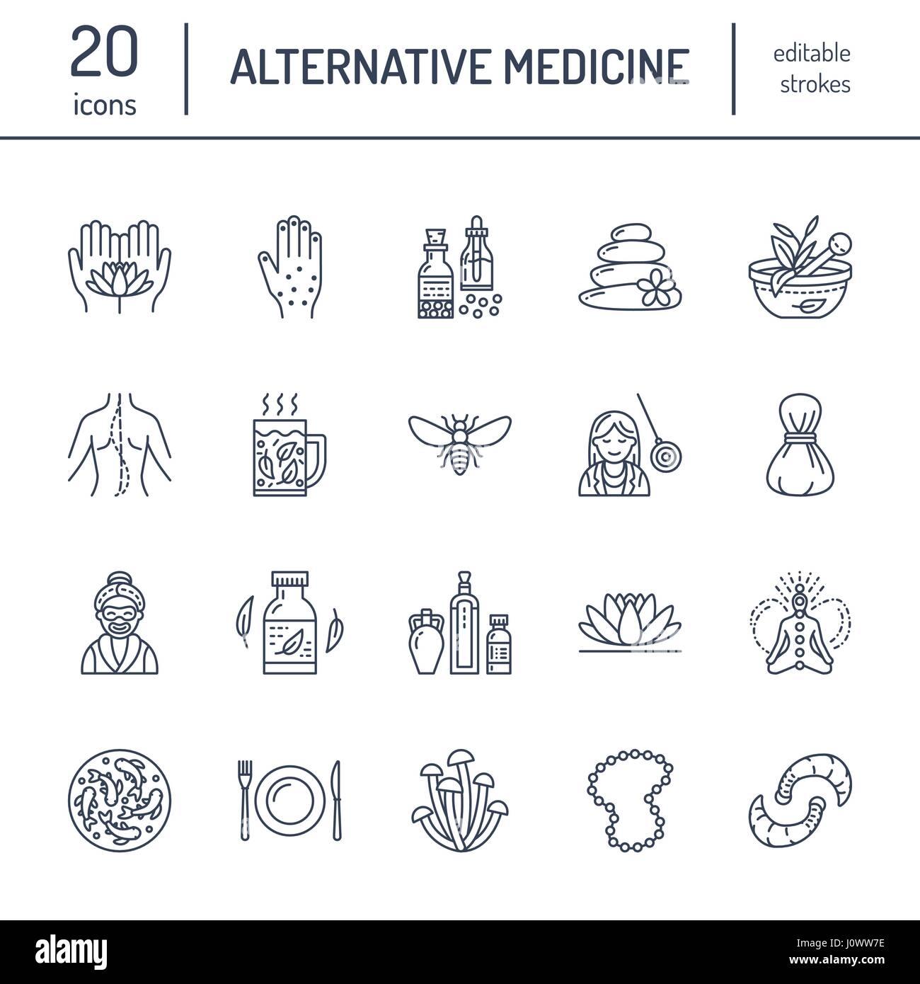 Icônes de ligne de médecine alternative. Naturopathie, la traitement, l'homéopathie, l'ostéopathie, Photo Stock