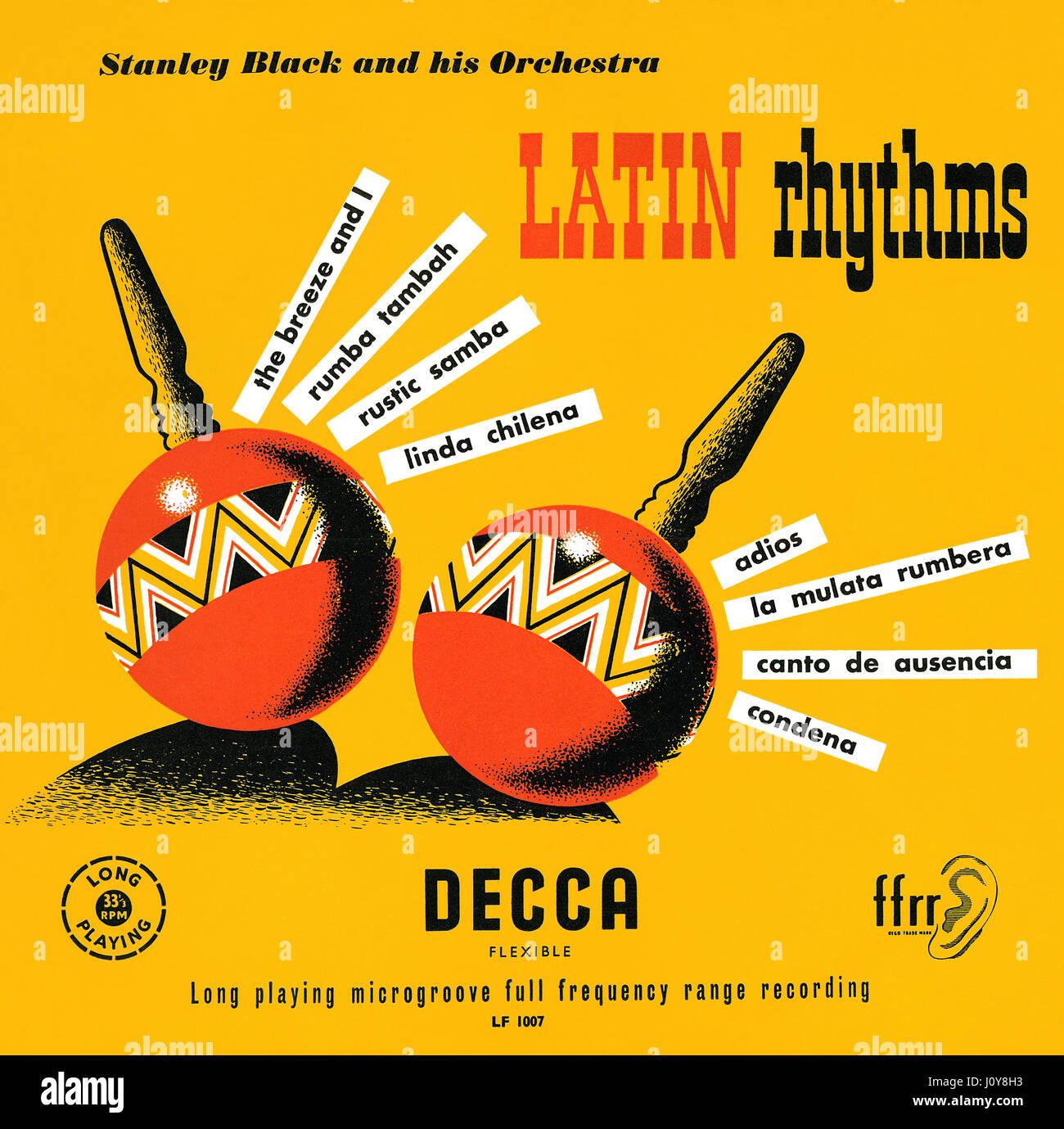 Capot avant de la pochette pour le noir Stanley et son orchestre 10' LP rythmes latino. Cet album est sorti Photo Stock