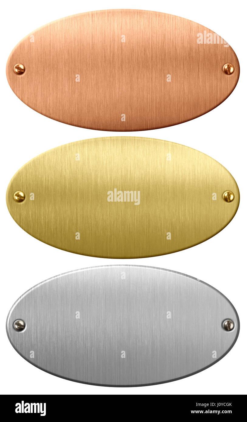 Le métal, d'or et de bronze, plaques ou de plaques ovales avec chemin de détourage inclus Photo Stock