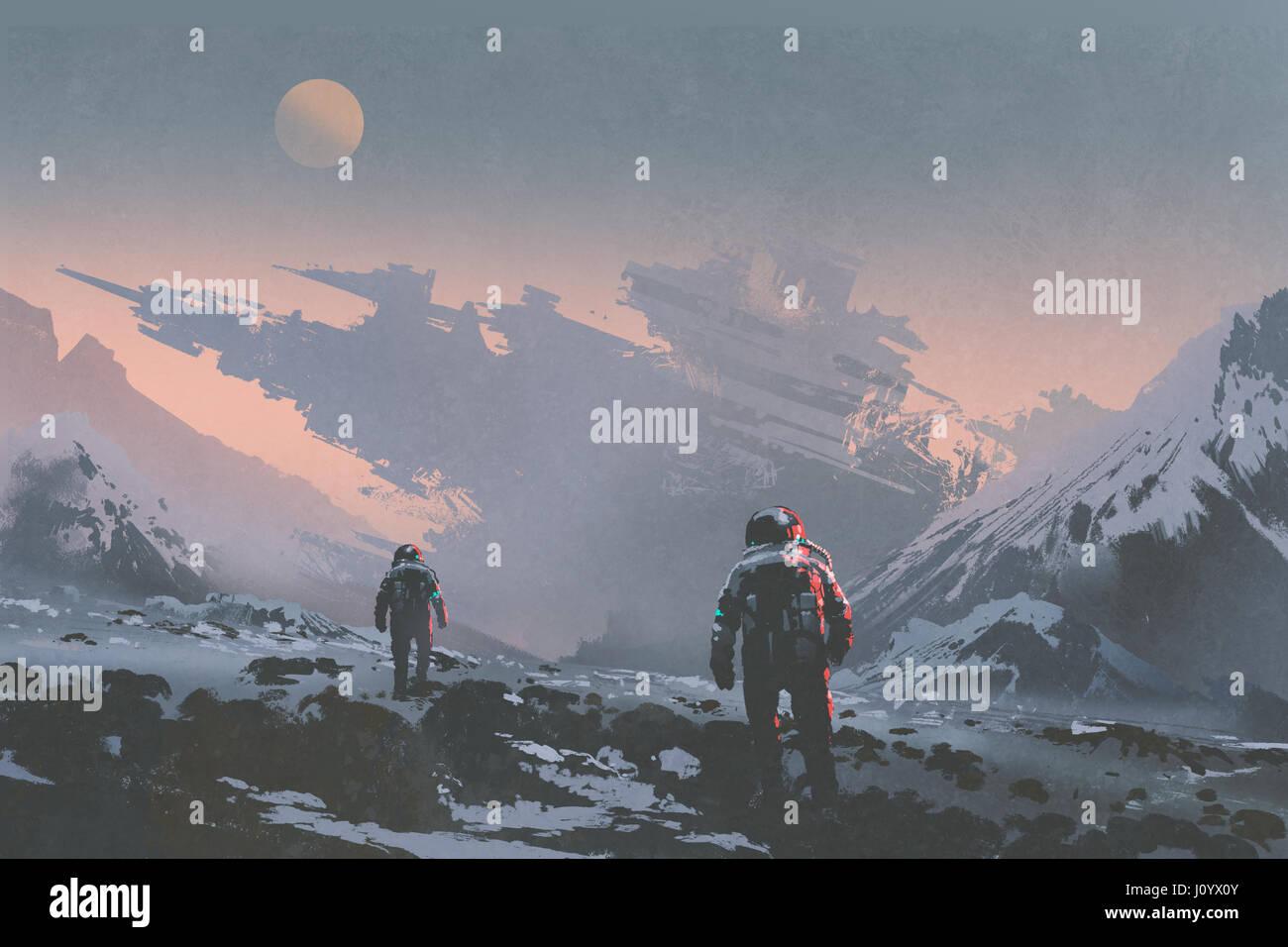 Concept de science-fiction des astronautes à pied de vaisseau abandonné sur planète extraterrestre, Photo Stock