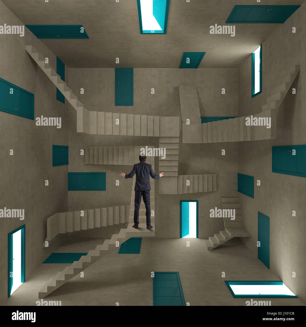 Homme confus dans une salle pleine de portes et escaliers Photo Stock