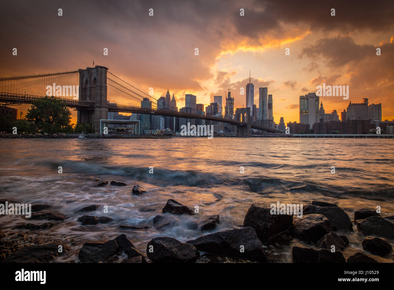 Coucher de Manhattan Photo Stock