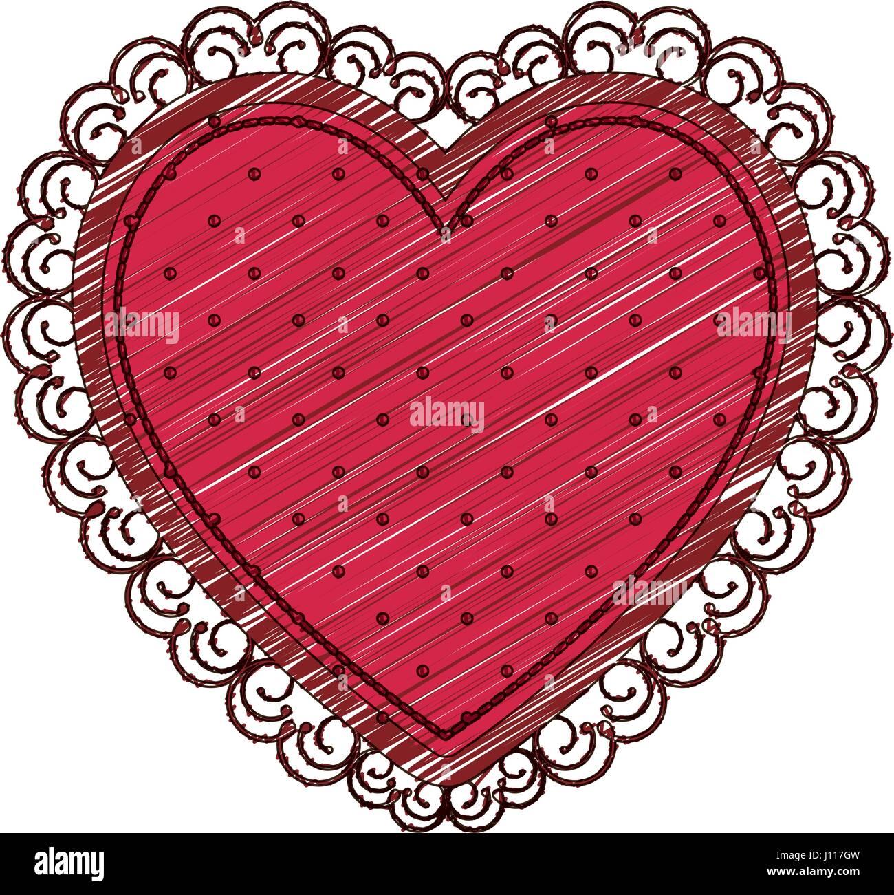 Image Avec Des Coeur dessin au crayon de couleur de coeur avec cadre décoratif de couleur