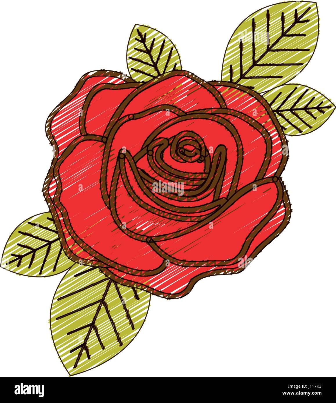 Dessin Au Crayon De Couleur De Fleur Rose Rouge Avec Des Feuilles