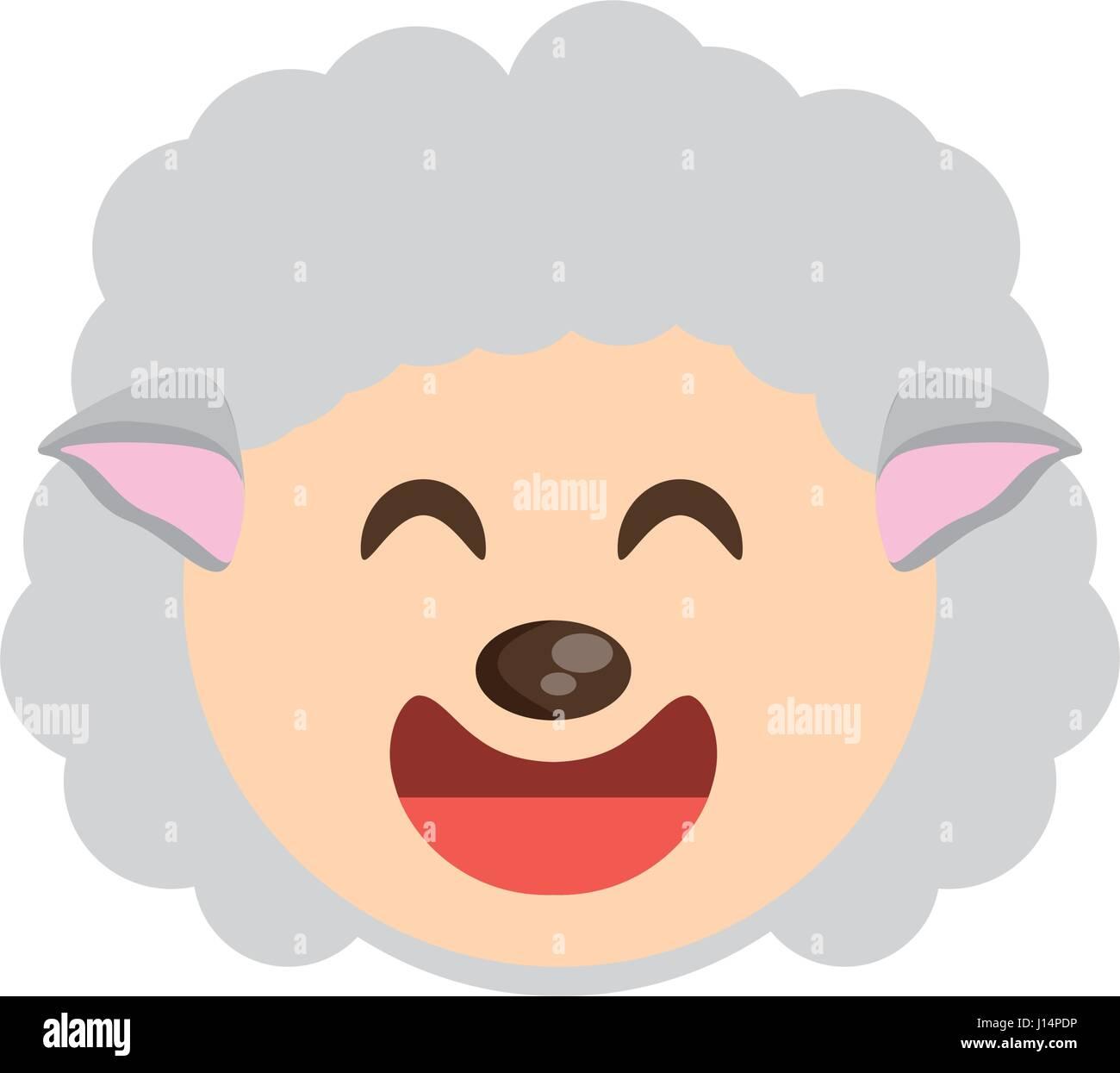 Mouton mignon visage joyeux animaux Illustration de Vecteur