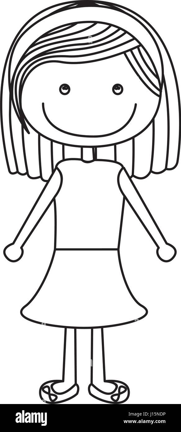 Caricature silhouette fille aux cheveux courts en Chemisier et jupe Illustration de Vecteur
