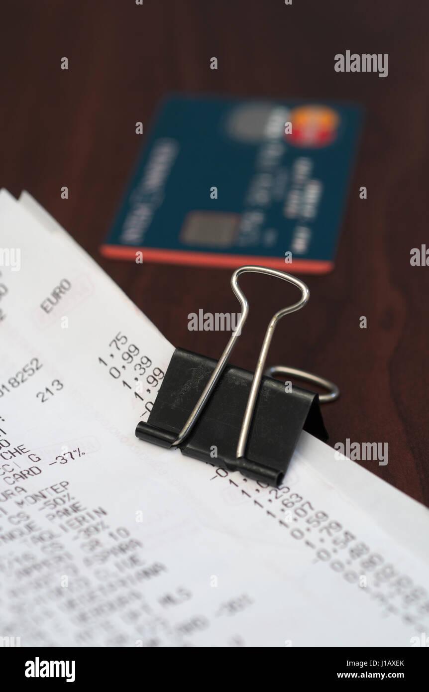 Carte de crédit et les reçus Photo Stock