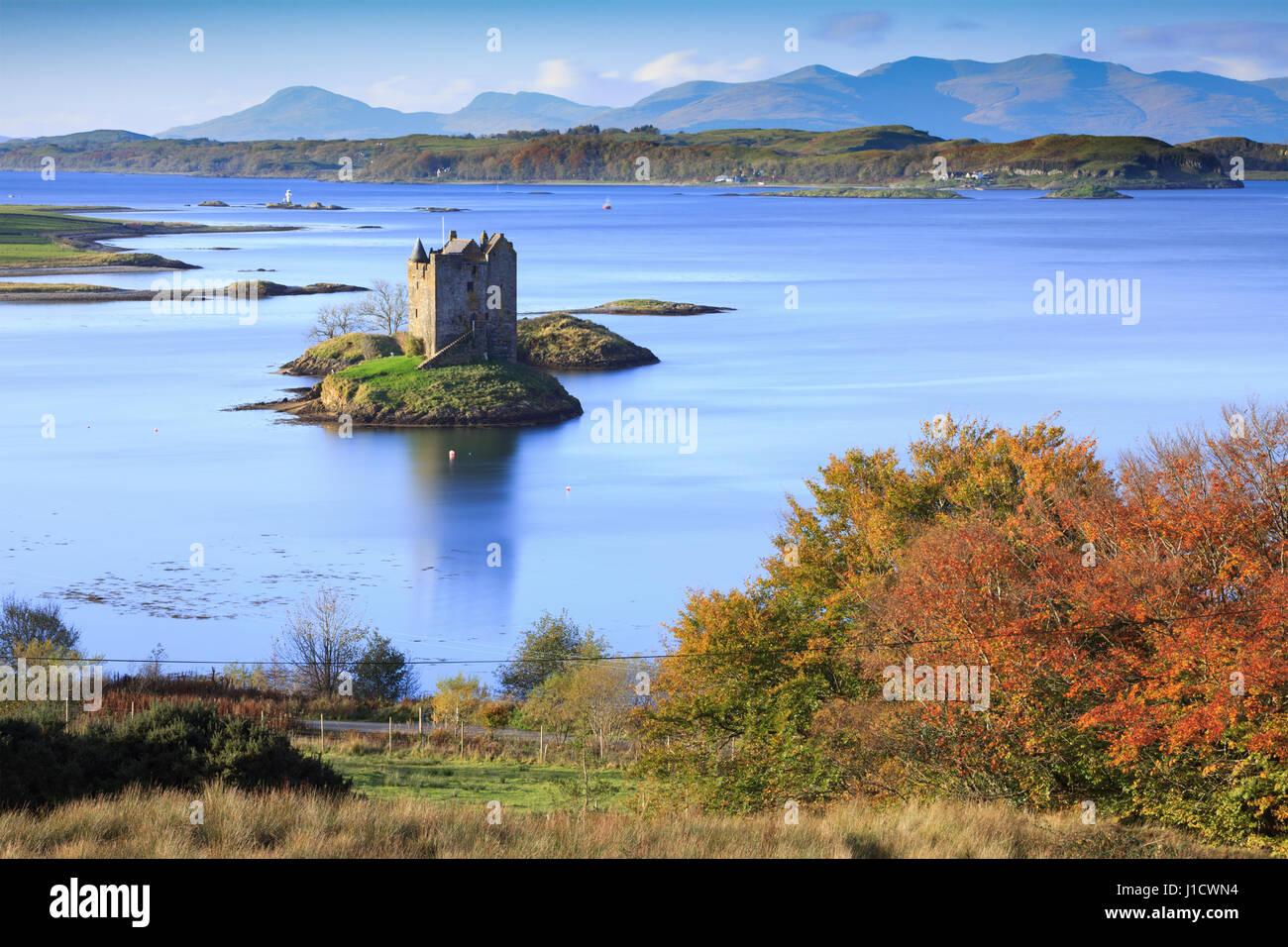 Château de Stalker dans les Highlands écossais Photo Stock