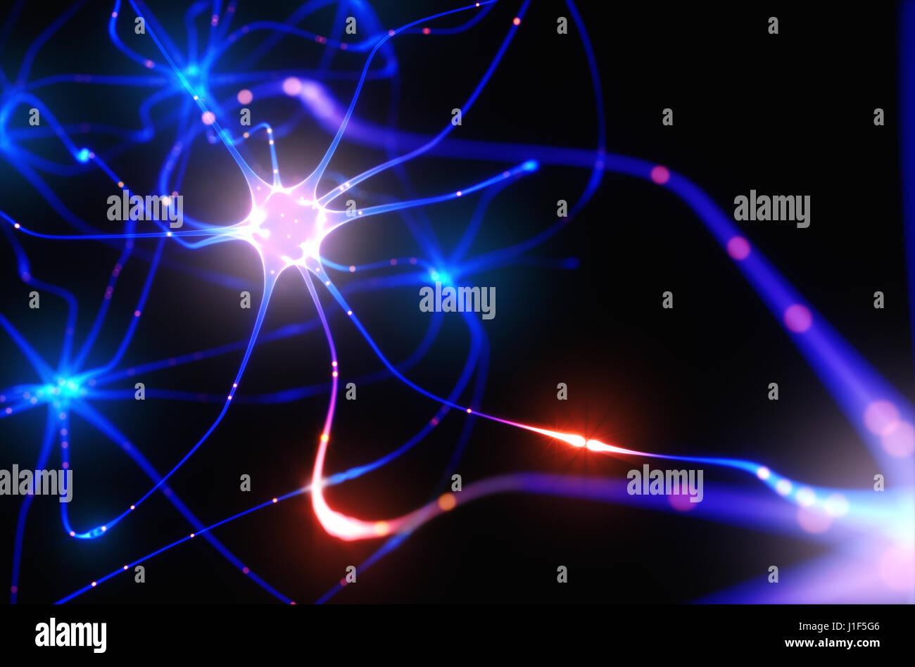 3D illustration de neurones interconnectés avec des impulsions électriques. Photo Stock