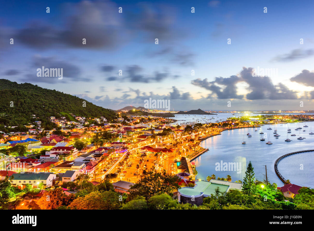 La ville de Marigot, Saint Martin d'horizon. Photo Stock