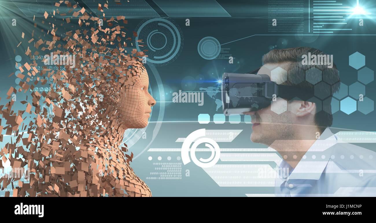 Digital composite of Businessman looking at 3d human par lunettes VR Banque D'Images