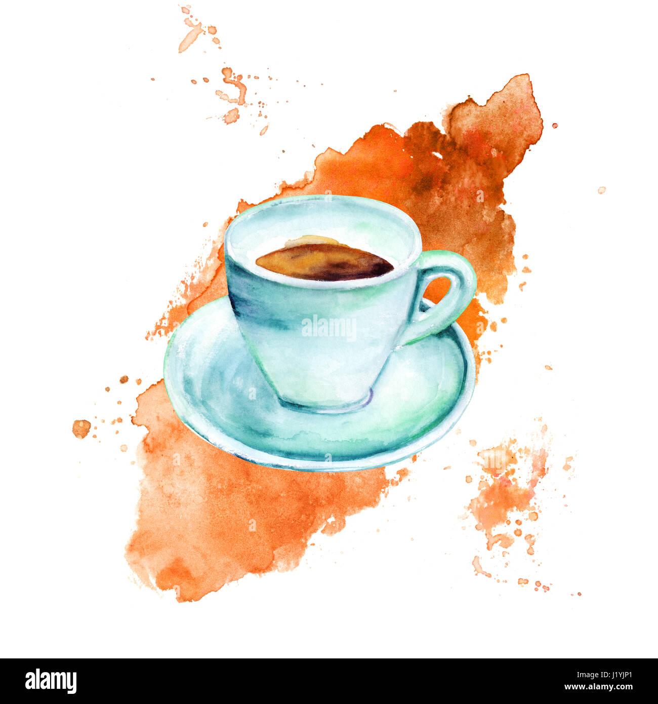 Une aquarelle dessin d 39 une tasse de caf dans la r gion de teal hues sur une tache de caf - Tasse de cafe dessin ...