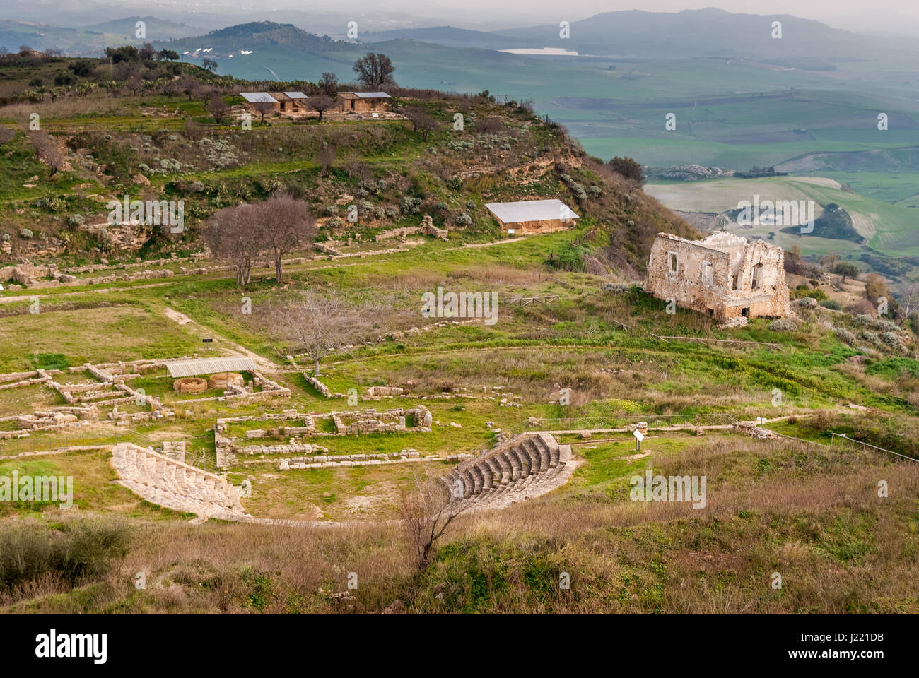 Vue panoramique de l'ancienne ville grecque de Morgantina, en Sicile Photo Stock