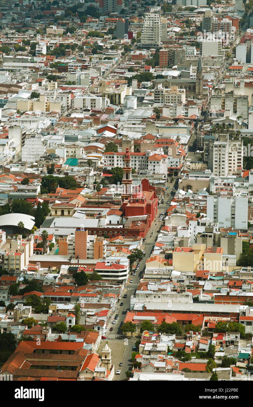 Paysage urbain, avec l'église San Francisco, Salta, province de Salta, Argentine Photo Stock