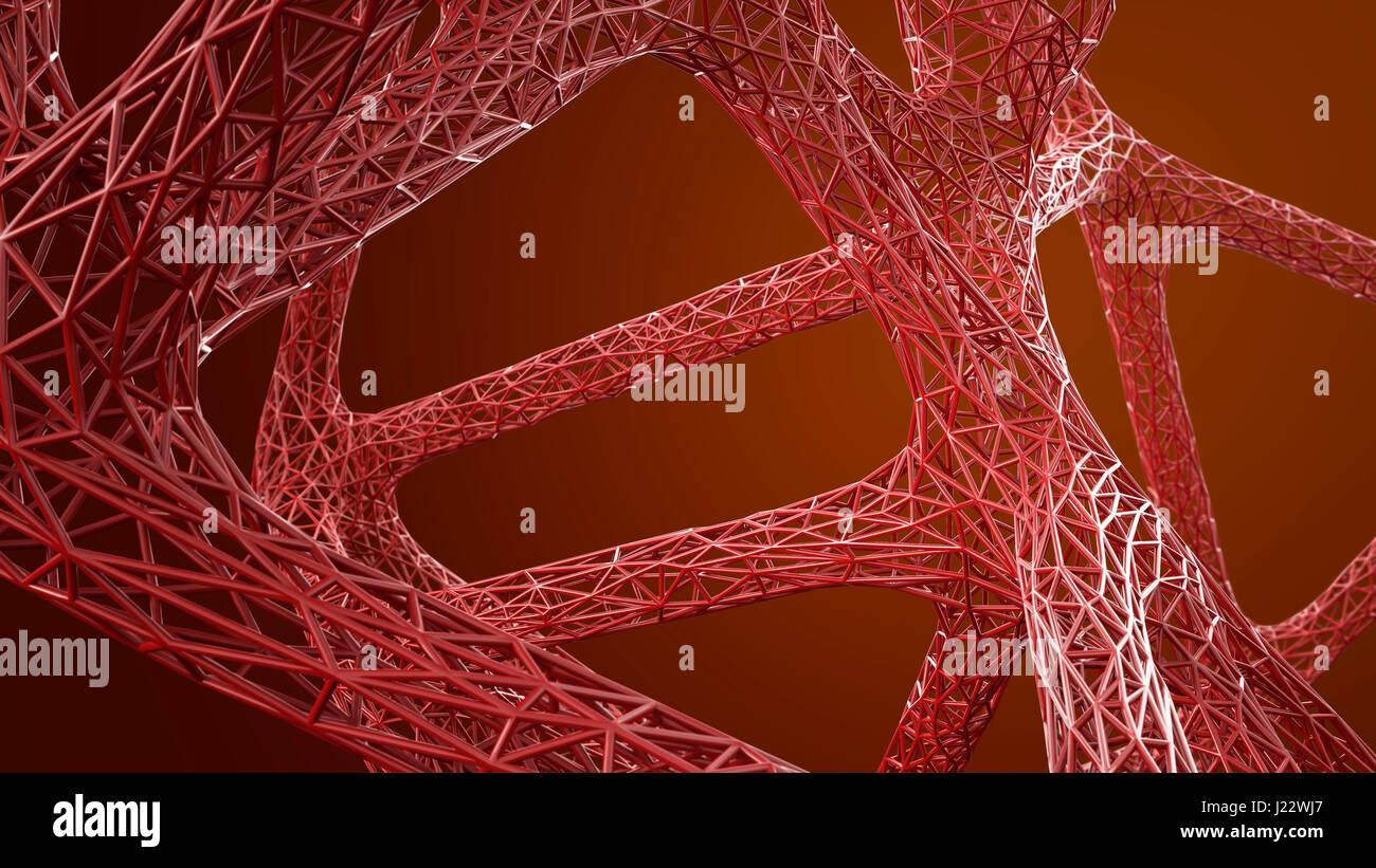 Résumé La structure en grille biologique en rouge, 3D Rendering Photo Stock