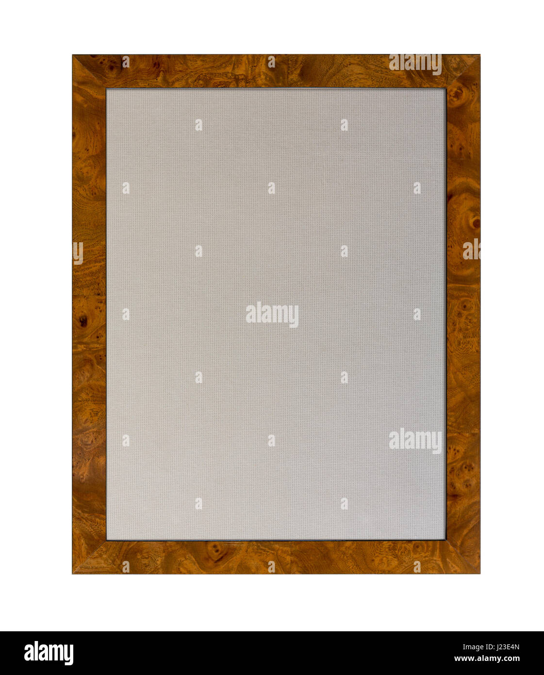 En fonction du tissu ou de l'avis d'affichage à l'intérieur d'un cadre photo en bois isolé sur fond blanc Banque D'Images