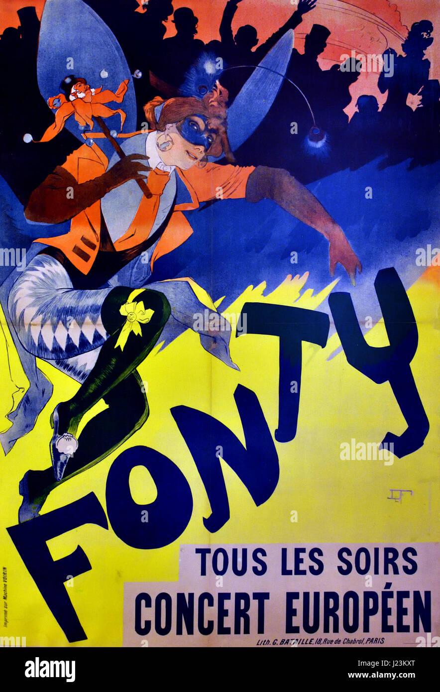 L'affiche (Fonty tous les soirs - Les soirées sont tous ) par Georges de Feure 1893-1894 Lithographie France Photo Stock