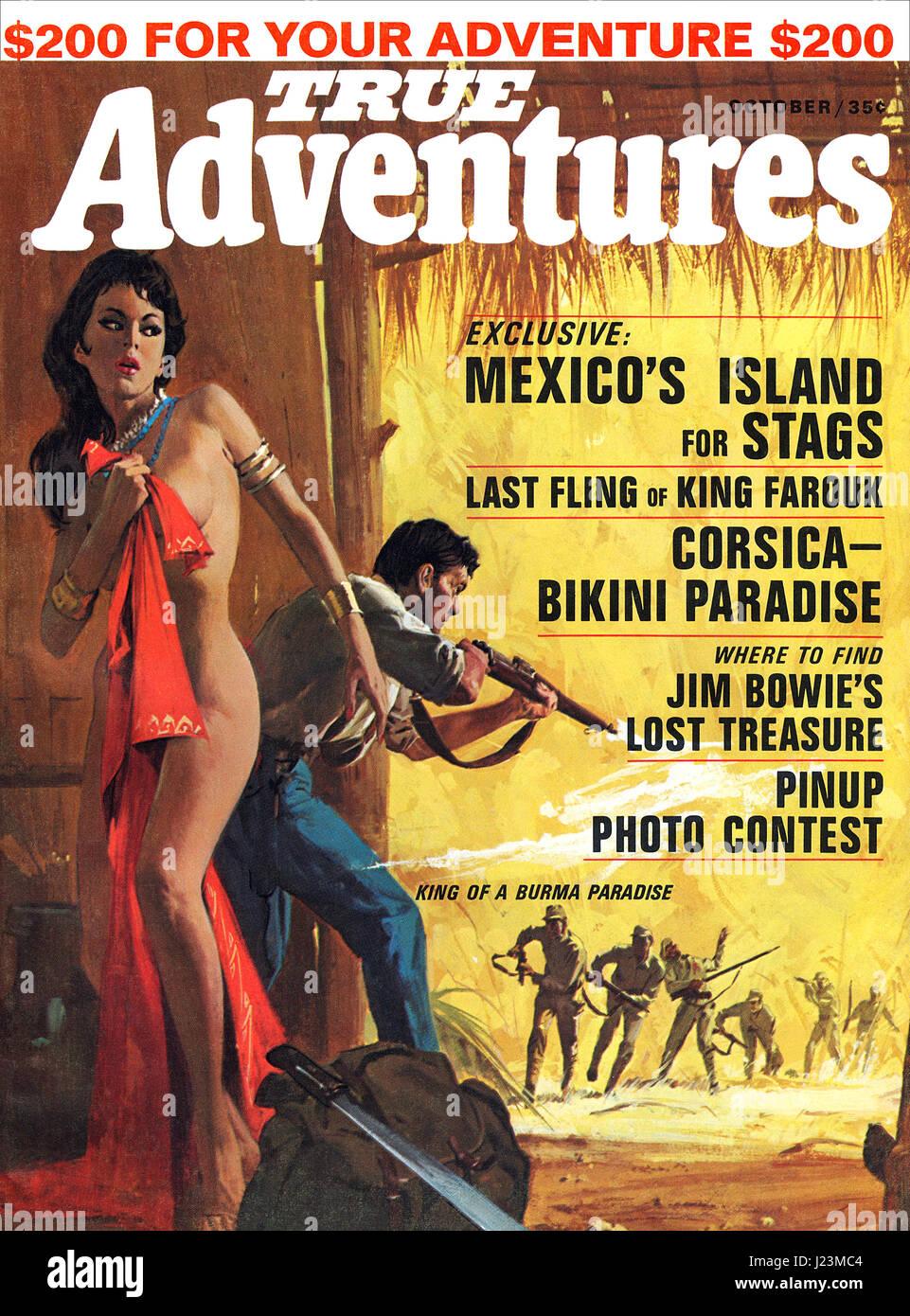 Couverture du magazine d'Aventures vraies octobre 1965, illustré par Roger Kastel. Photo Stock