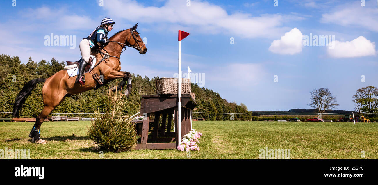 BURNHAM MARKET, NORFOLK/FRANCE - 13 avril 2017 : Burnham Market International Horse Trials 2017 sauts cross Photo Stock
