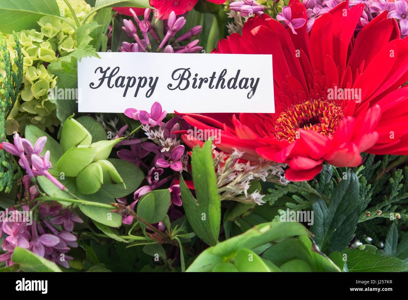 Joyeux Anniversaire Carte Avec Bouquet De Fleurs De Printemps Banque