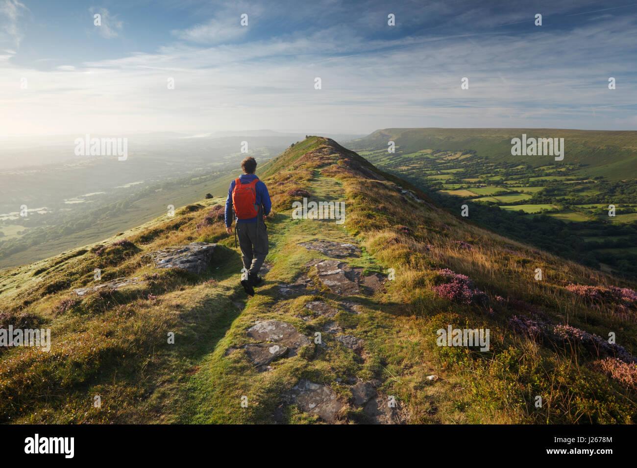 Hillwalker sur Noir colline dans les Montagnes Noires. Parc national de Brecon Beacons, Pays de Galles, Royaume Photo Stock