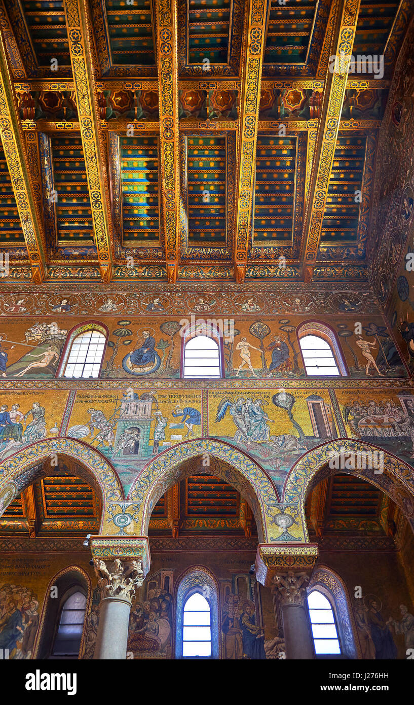 Mosaïques de la cathédrale médiévale d'Norman-Byzantine de Monreale, province de Palerme, Sicile, Italie. Banque D'Images