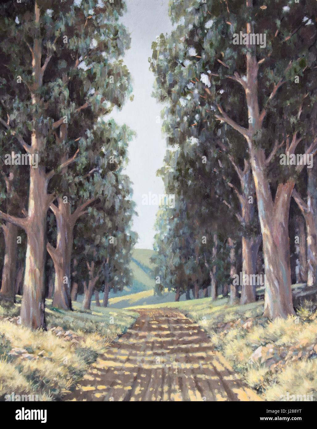 Huile originale sur toile - Lane de grands eucalyptus pommelé à côté de route de campagne en Photo Stock