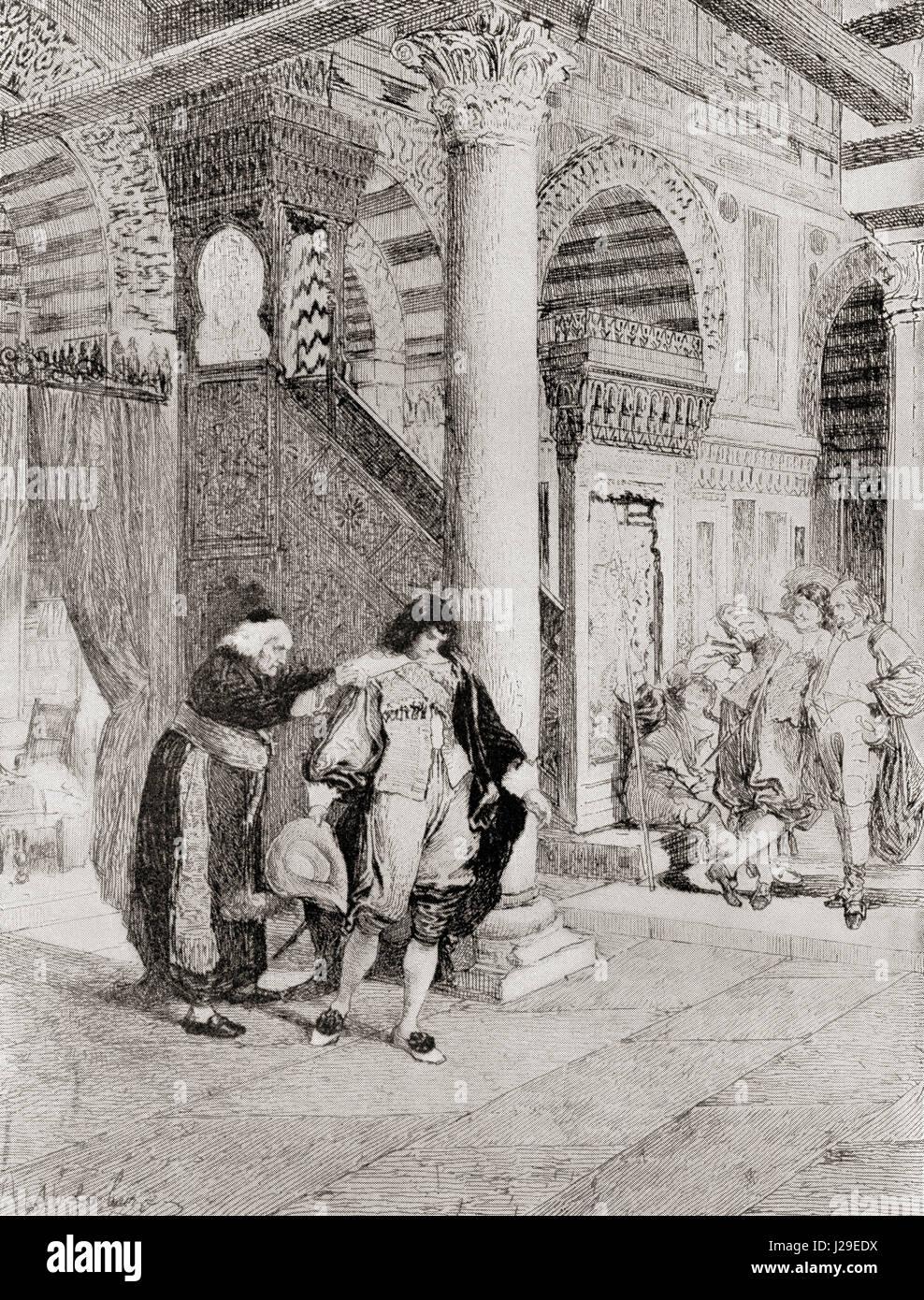 Gil Blas est rejeté. Illustration du roman Les Aventures de Gil Blas de Santillane par Alain-René Lesage. Photo Stock