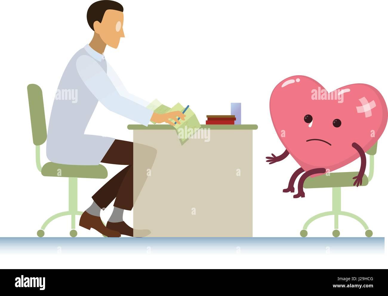 Médecin malade avec symbole coeur cartoon - Journée mondiale de la Santé Photo Stock
