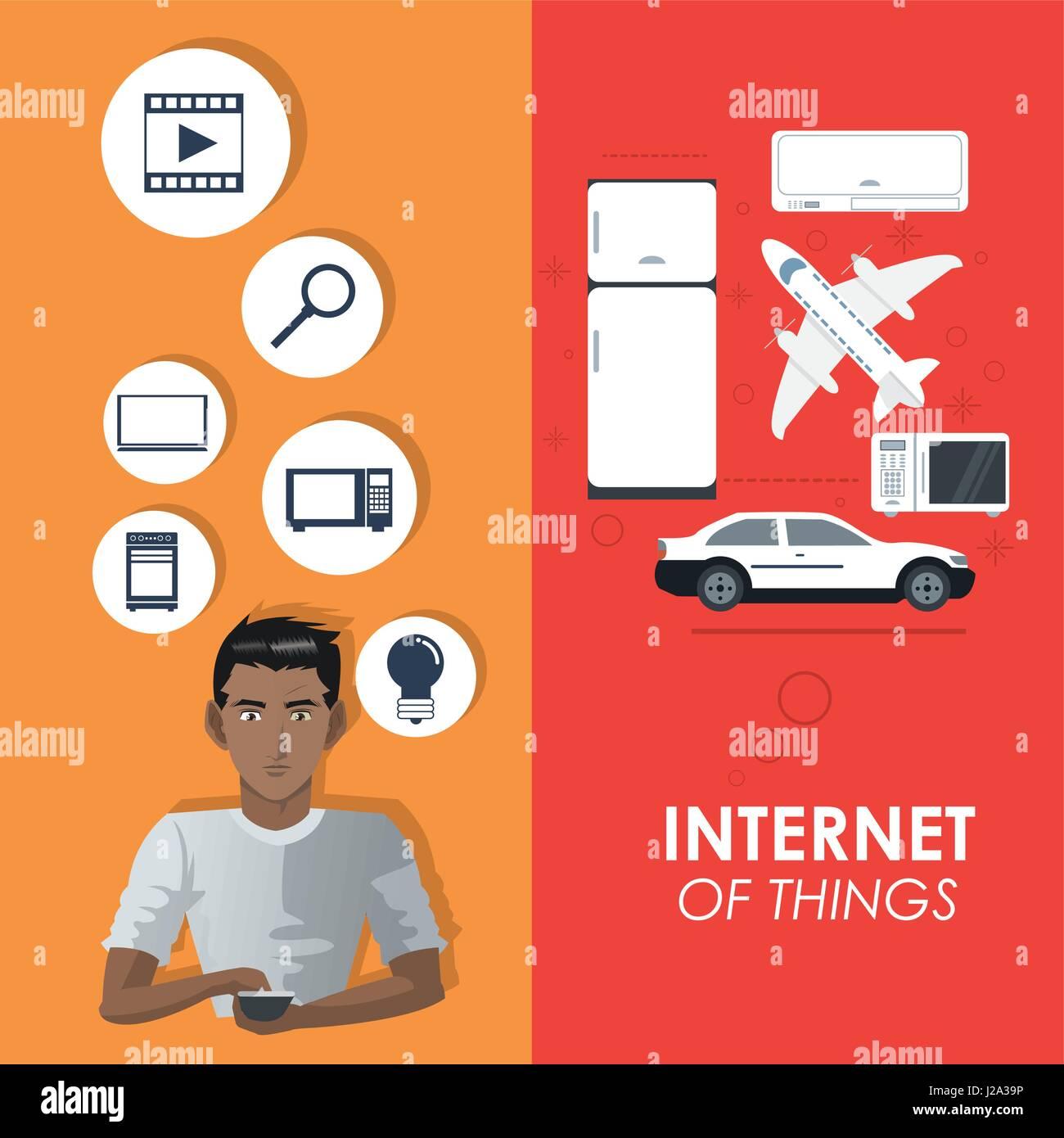 Internet des objets de connexion affiche les éléments du concept Illustration de Vecteur